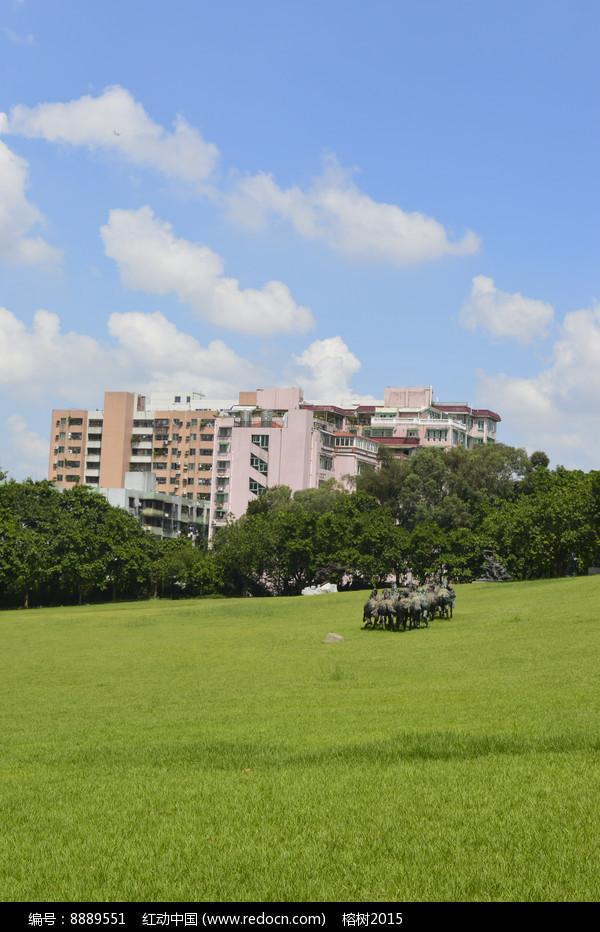 草地楼房蓝天白云图片