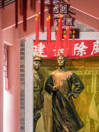 从走廊看雕像