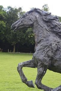 铜雕奔跑的马匹特写