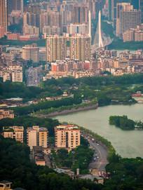 惠州西湖湖边建筑风光