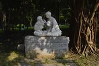 关于小男孩小女孩的梦想雕塑