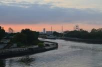 江河彩霞风景