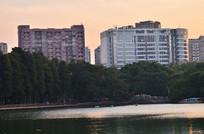 高楼大厦湖泊风景