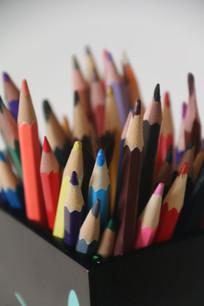 各色彩色铅笔特写