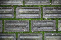 无缝灰砖青苔路面背景素材
