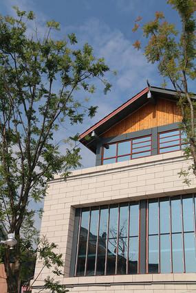 中式小楼与两棵凤凰树