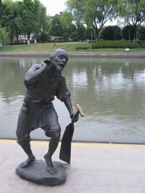 大运河畔的老船夫雕塑