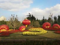景观鲜花红灯笼