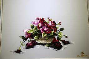 越南刺绣盛开的花