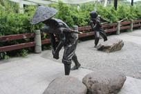 杭州小河直街前广场人物雕塑