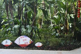 陈田花园绿植及核心价值观标语