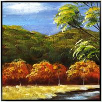 复古风景抽象油画