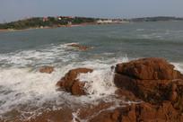 海边海浪岩石青岛海南海岸