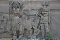 石雕农耕农民和牛