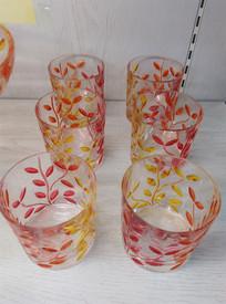 复古叶子图案玻璃杯