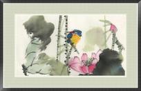 国画荷花与翠鸟