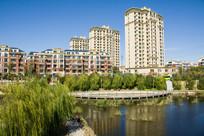 河岸垂柳垂钓与高楼住宅