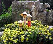 菊花和卡通人物園藝設計