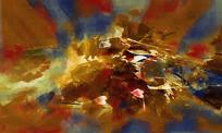 荷花抽象油画
