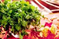 美食火锅配菜香菜