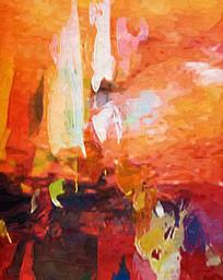 红红火火抽象油画无框画