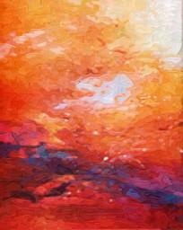 现代抽象油画红红火火