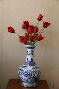 陶瓷花瓶假花