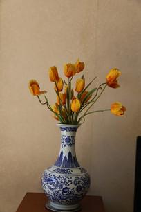 陶瓷花瓶假花装饰