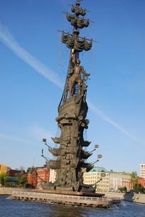 彼得大帝青铜雕像近景