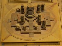 古代寺院建筑模型