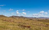 蓝天白云下的草原秋色