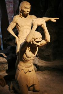 原始人用砍砸器雕像