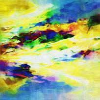 黄色调的抽象油画