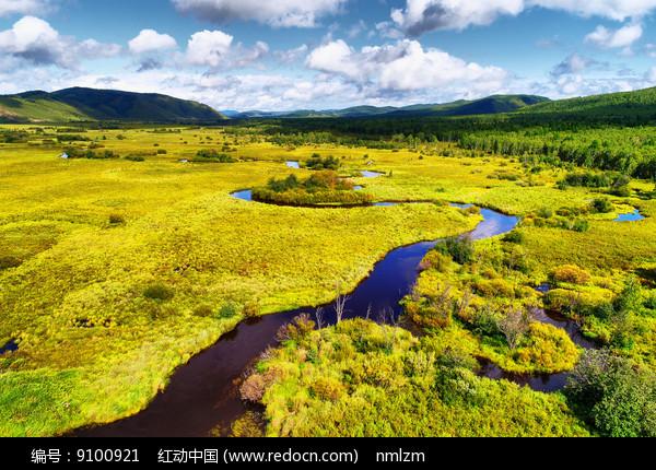 草甸弯曲的河流 (航拍) 图片