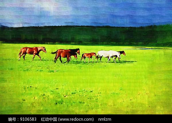 电脑油画《牧场马群》图片