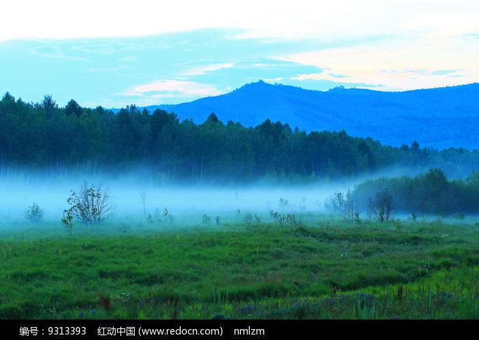 大兴安岭森林 夜雾缥缈图片