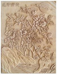 花开富贵画浮雕背景墙雕刻