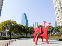 城市宜居环境公园红色雕塑