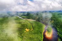 穿越绿色林海的云雾河流