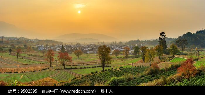 秋季卢村日出全景图片