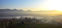 晨雾中的田野和远山