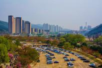 龙王塘水库河道与住宅建筑俯视