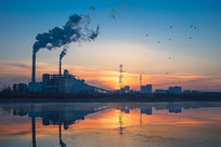 城市工业日落景观