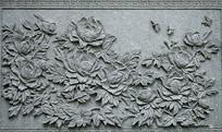石刻浮雕牡丹