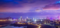 深圳湾高空俯瞰城市夜景