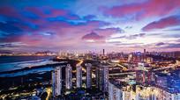 夕阳过后彩云城市夜景