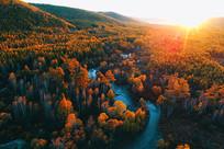航拍树林小溪秋色夕阳