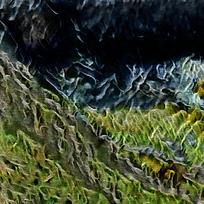 抽象山坡火焰油画海报