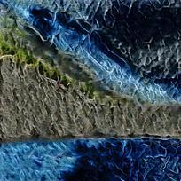 抽象山崖火焰油画海报
