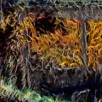 西餐厅壁画装饰火焰油画